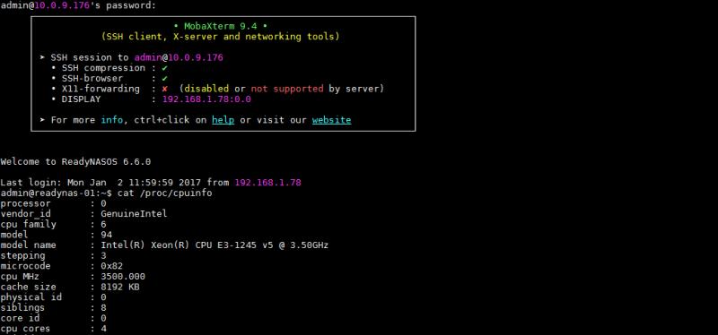 Netgear ReadyNAS 6.6 CLI