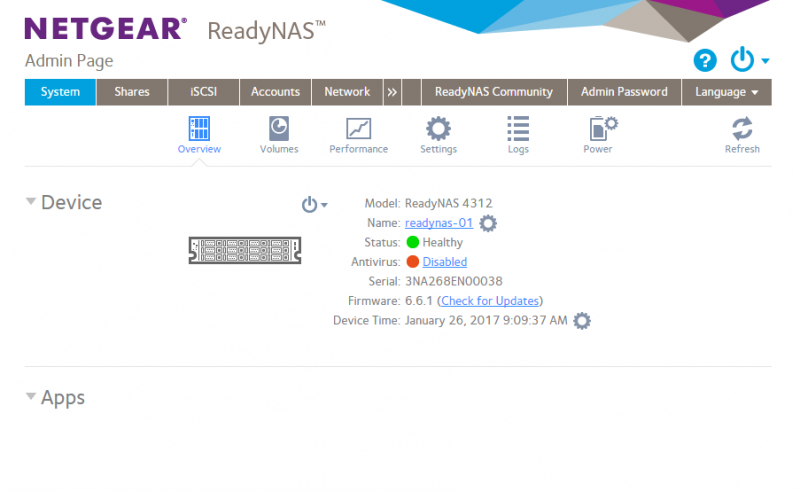 Netgear RedayNAS Admin Dashboard