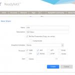 Netgear RedayNAS Create New Share With Snapshots