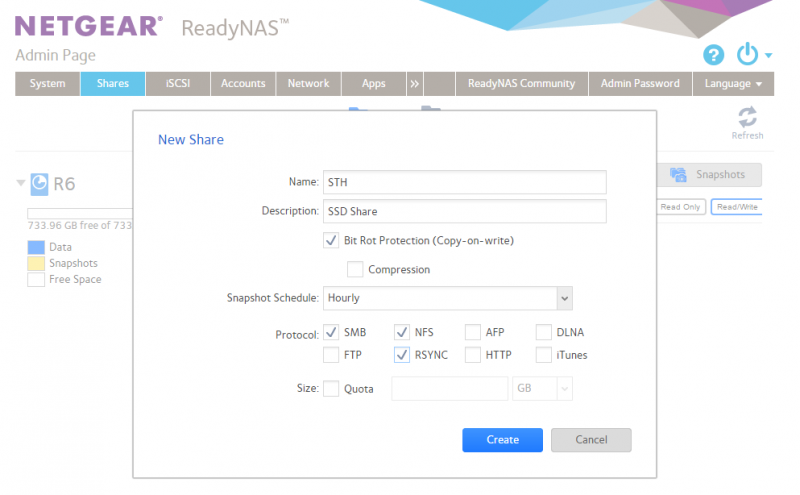 Netgear RedayNAS Create New Share With Snapshots