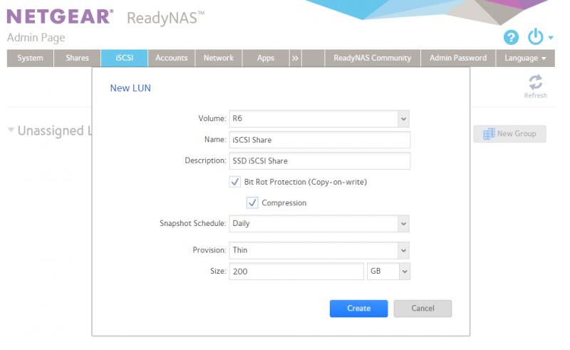 Netgear RedayNAS Create ISCSI With Snapshots And Compression