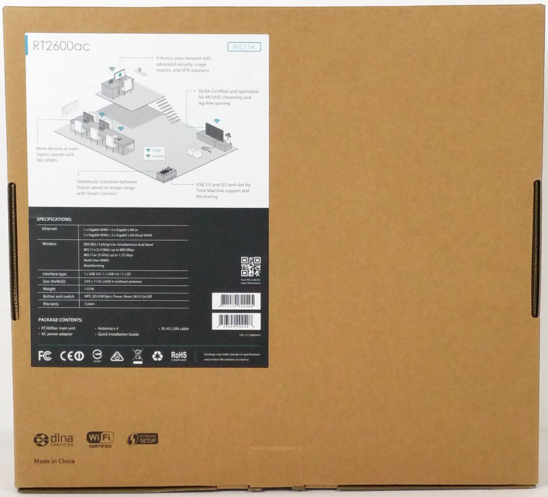 Synology RT2600ac Retail Box Back
