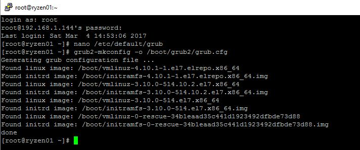 AMD Ryzen With CentOS Linux Kernel 4.10.1 Generate New GRUB Configuration