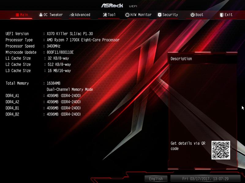 ASRock X370 KILLER SLIac BIOS 1