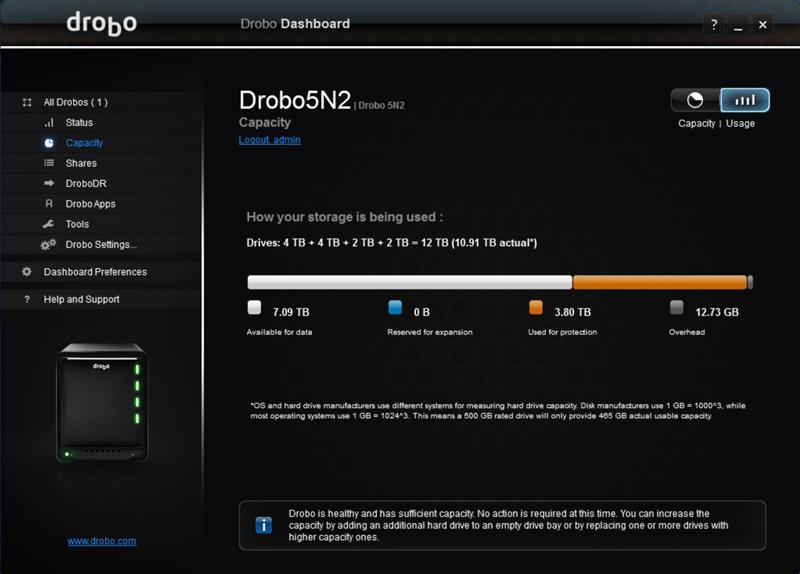 Drobo 5N2 Dashboard 12