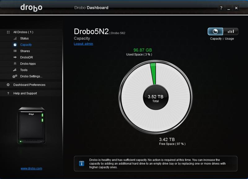 Drobo 5N2 Dashboard 2