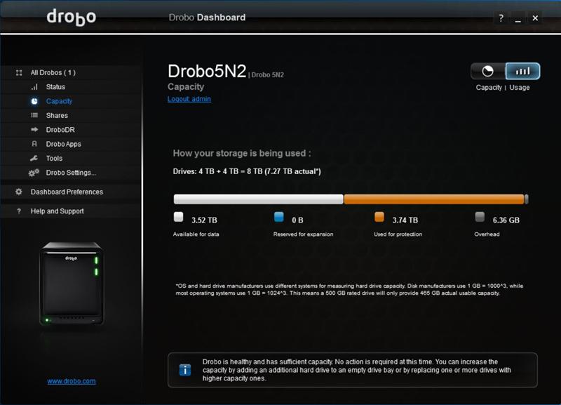 Drobo 5N2 Dashboard 3
