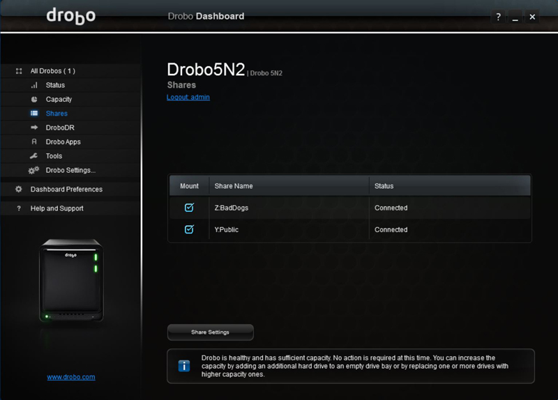 Drobo 5N2 Dashboard 4