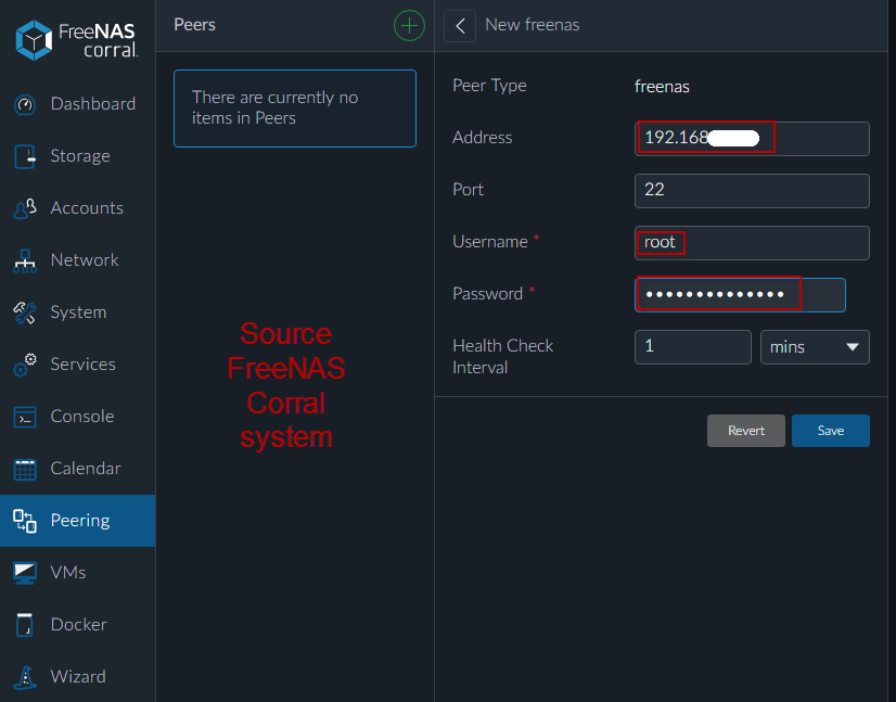 Using new FreeNAS Corral Peering to replicate ZFS datasets