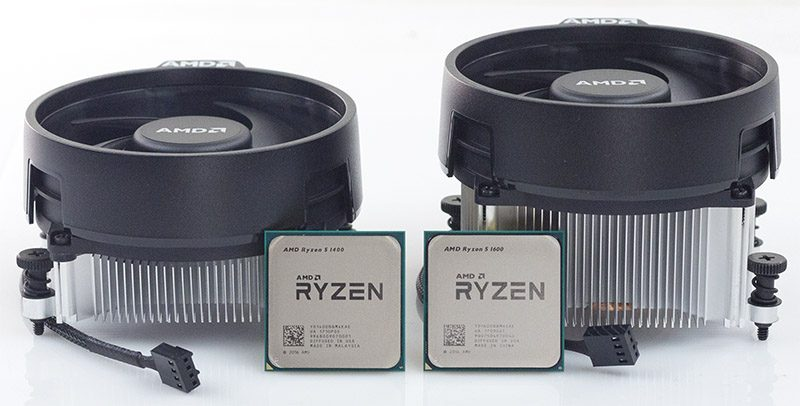 AMD Ryzen 5 1400 And 5 1600 Side By Side With Coolers
