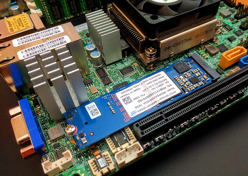 Intel Optane Memory Installed In Xeon D Server