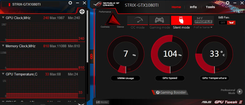 ASUS ROG STRIX GeForce GTX 1080 TI OC GPU Tweak Silent Mode
