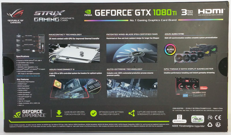 ASUS ROG STRIX GeForce GTX 1080 TI OC Retail Box Back