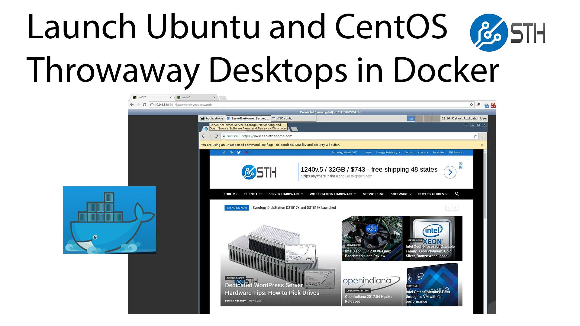 Create Web Browser Accessible Ubuntu and CentOS Docker Desktops