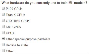 Google Survey May 2017 On Machine Learning Hardware
