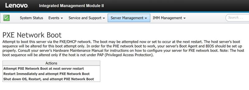 Lenovo IMM II PXE Boot