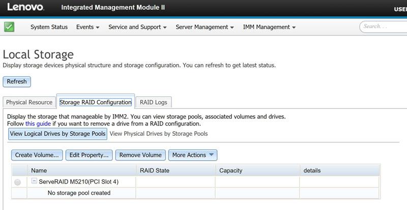 Lenovo IMM II Storage Configuration