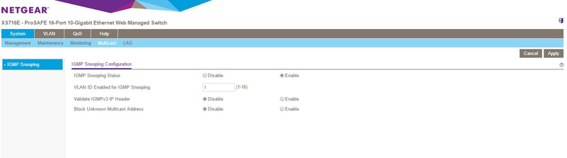Netgear ProSAFE XS716E Web Management IGMP
