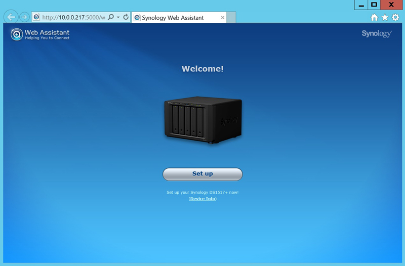 Synology DS1517+ Welcome