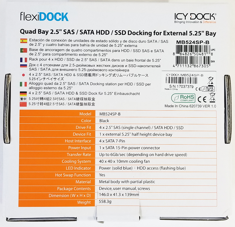 IcyDock FlexiDock MB524SP B Retail Box Back