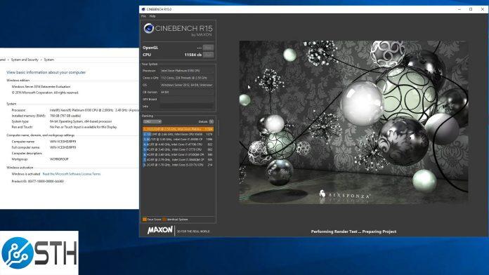 Intel 4P Skylake SP Cinebench R15 World Record Run Result 11584