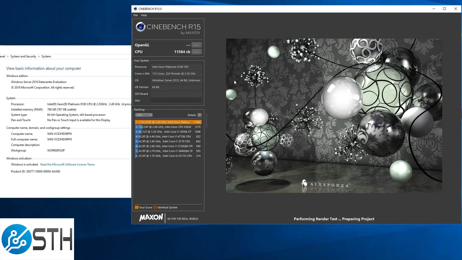 Intel 4P Skylake SP Cinebench R15 World Record Run Result 11584