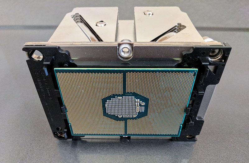 Intel Skylake SP CPU In Clip And Heatsink