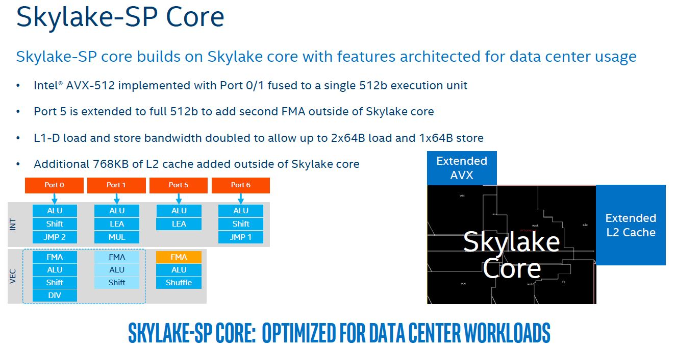Intel Skylake SP Microarchitecture Core Cache AVX