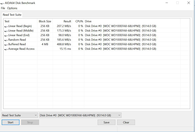 WD Red 10TB NAS AIDA64 Disk Benchmark