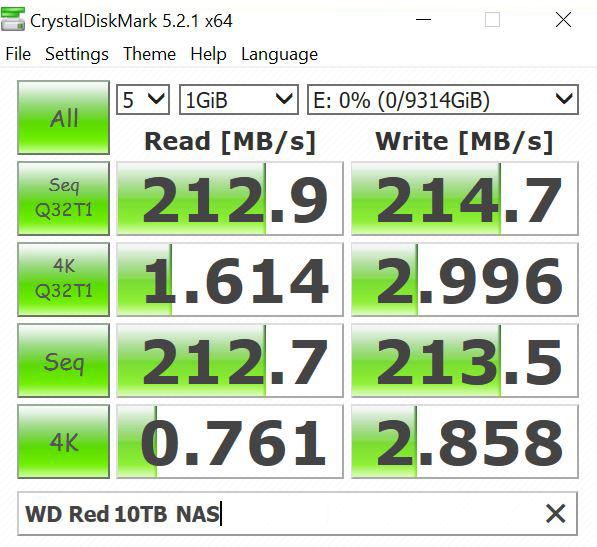 WD Red 10TB NAS CrystalDiskMark