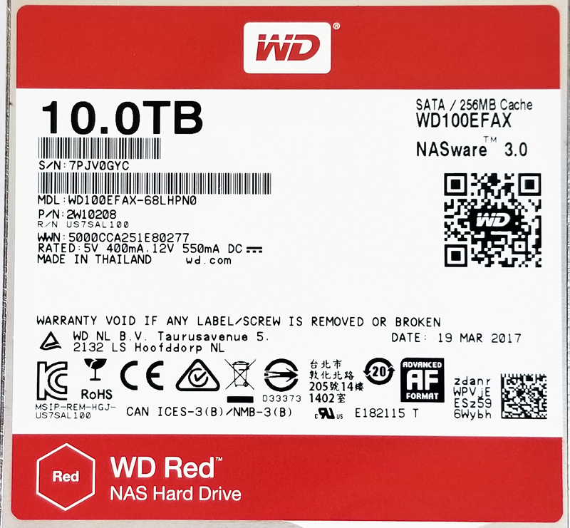 WD Red 10TB NAS Label