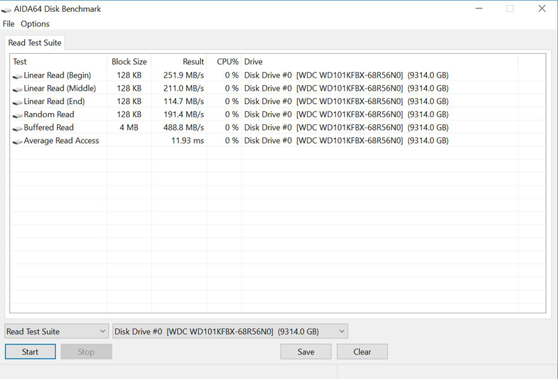 WD Red 10TB Pro NAS AIDA64 Disk Benchmark
