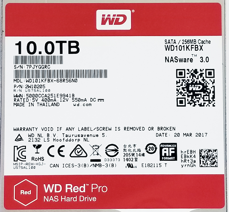 WD Red 10TB Pro NAS Label