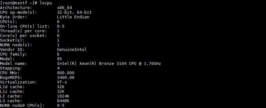 Intel Xeon Bronze Lscpu
