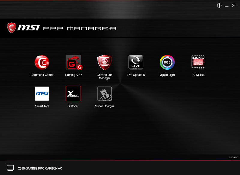 MSI X399 Gaming Pro Carbon AC Motherboard APP Manager