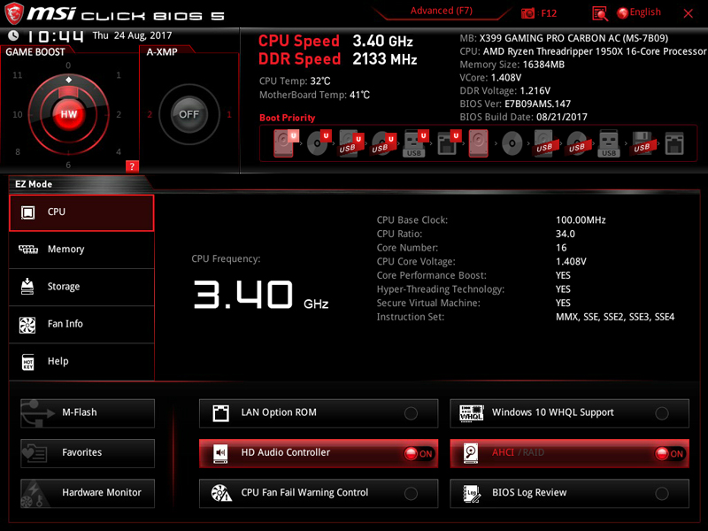 MSI X399 Gaming Pro Carbon AC Motherboard BIOS 1
