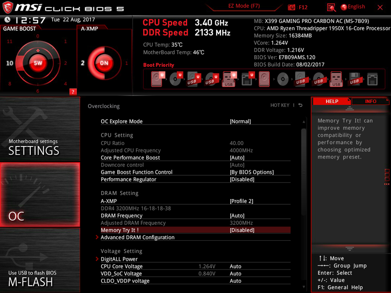 MSI X399 Gaming Pro Carbon AC Motherboard BIOS 3