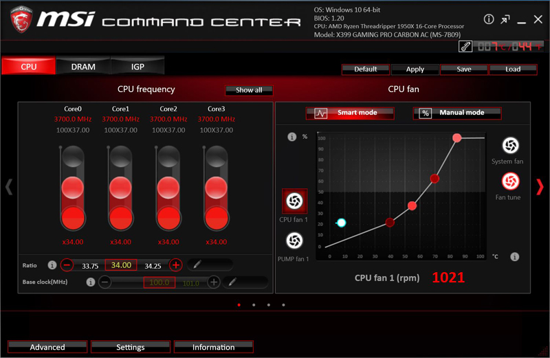 MSI X399 Gaming Pro Carbon AC Motherboard Command Center