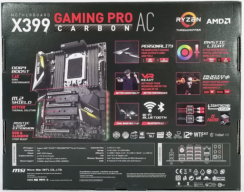 MSI X399 Gaming Pro Carbon AC Motherboard Retail Box Back