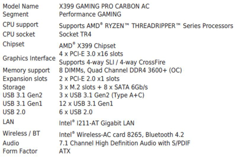 MSI X399 Gaming Pro Carbon AC Motherboard Specifications