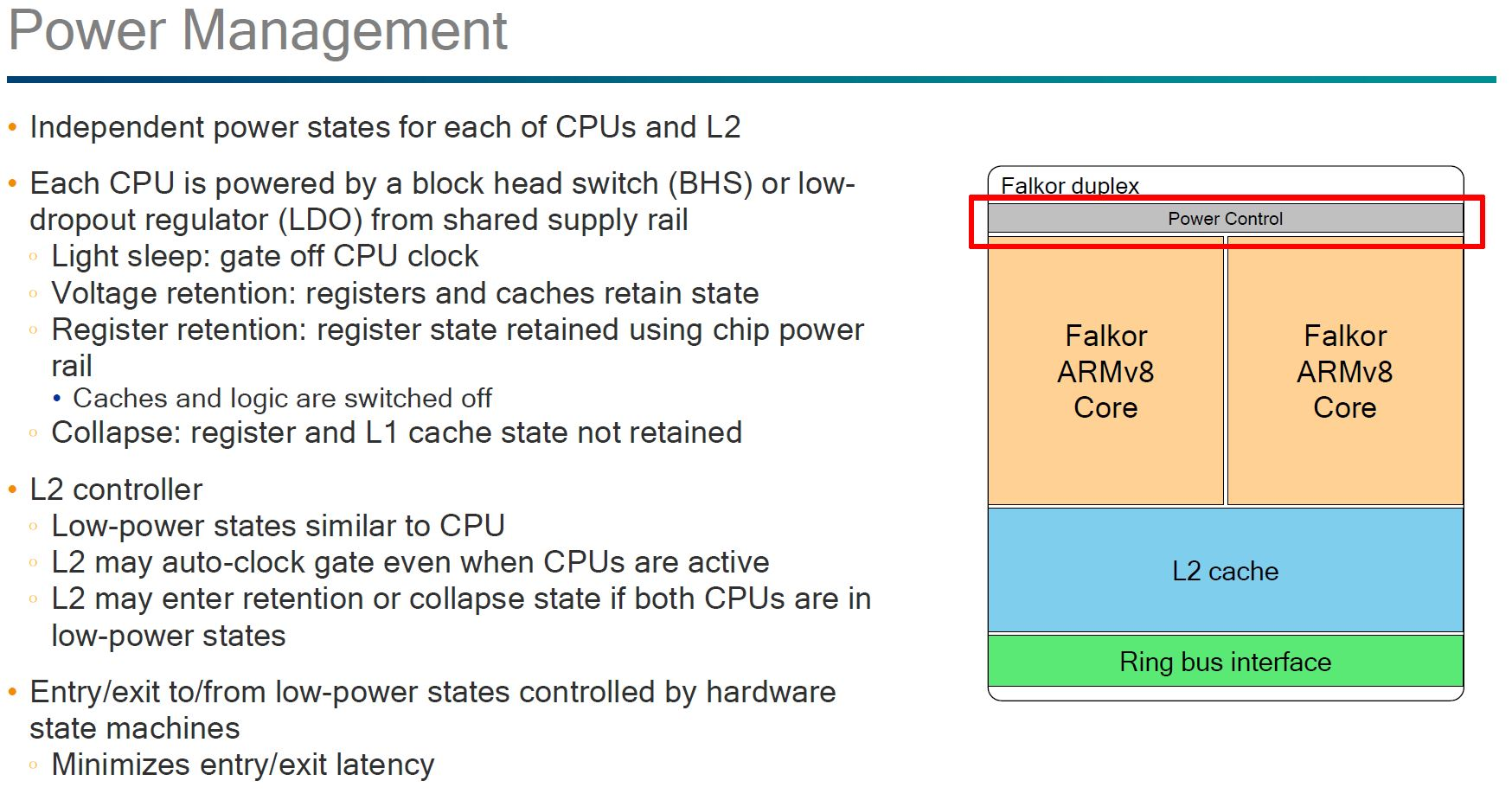 Qualcomm Falkor Power Management
