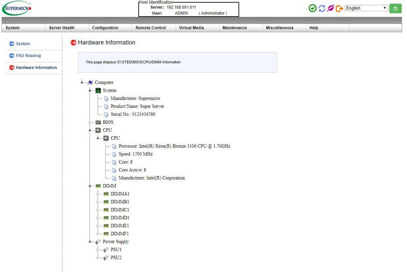 Supermicro X11 IPMI GUI