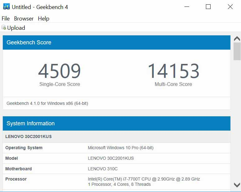 Lenovo ThinkStation P320 Tiny Geekbench CPU