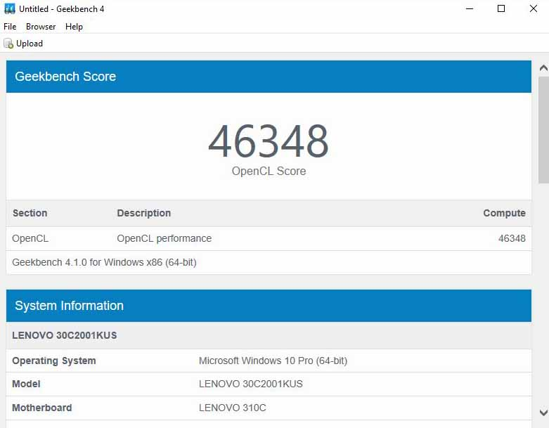 Lenovo ThinkStation P320 Tiny Geekbench GPU Quadro P600