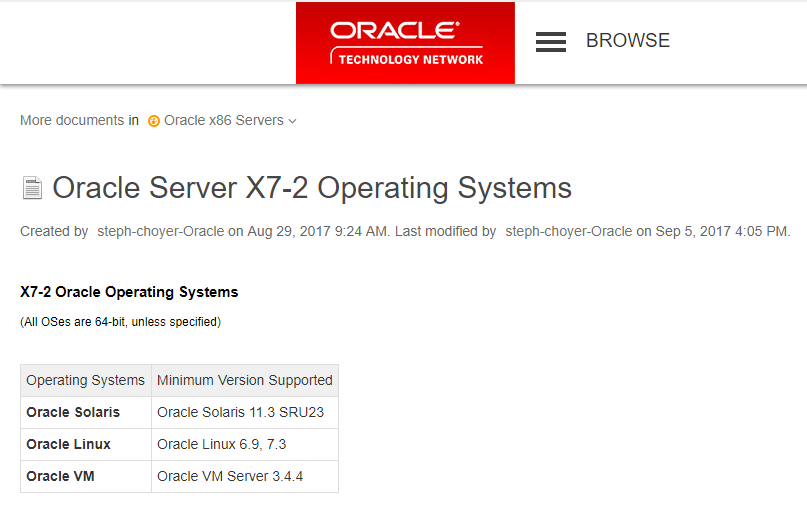 Oracle X7 2 Solaris Support