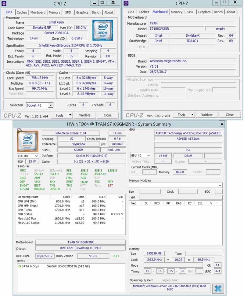 Tyan S7106 Bronze 3104 CPUz