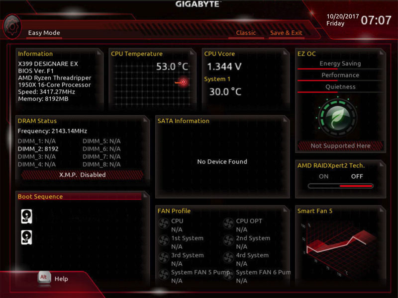 Gigabyte X399 Designare EX BIOS Easy Mode