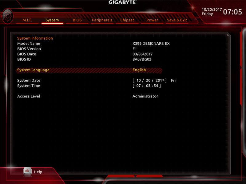 Gigabyte X399 Designare EX BIOS System