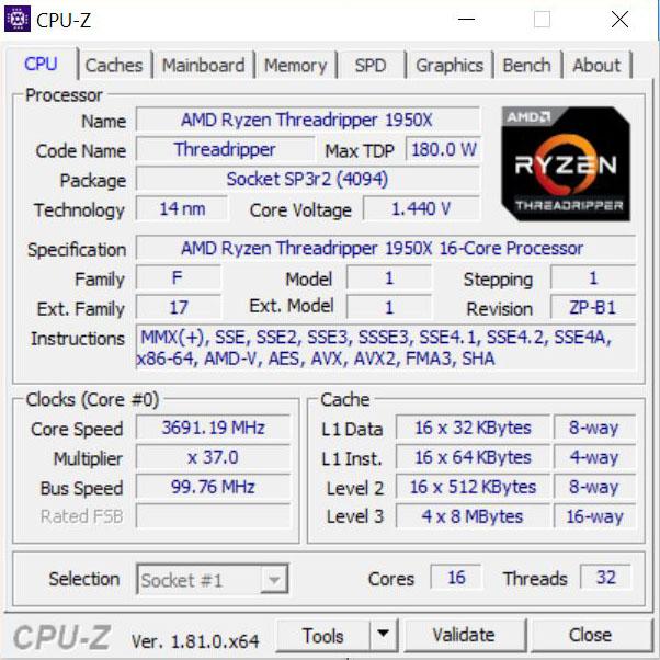 Gigabyte X399 Designare EX CPUz