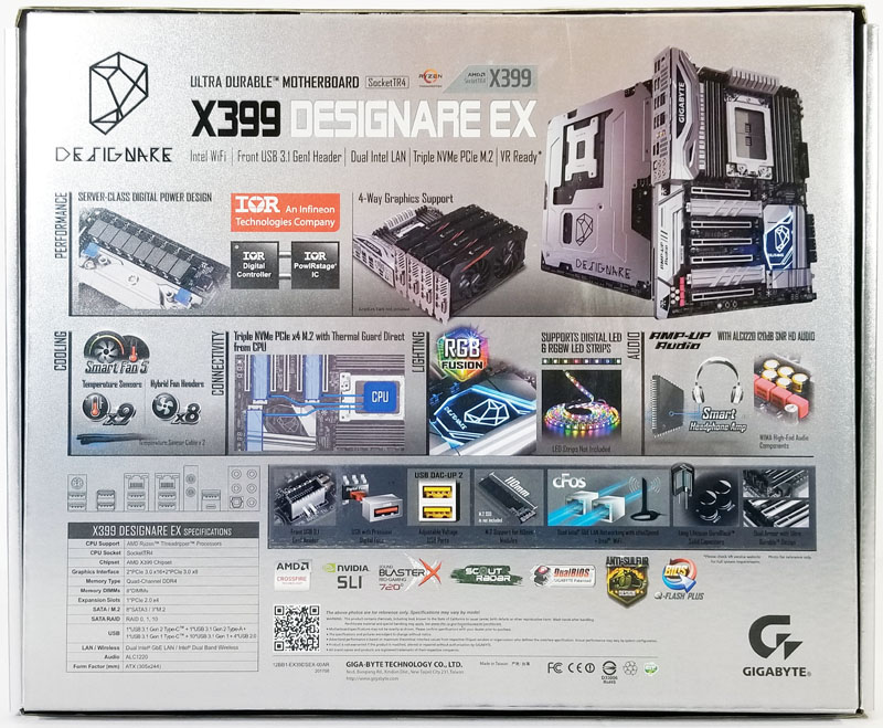 Gigabyte X399 Designare EX Retail Box Back
